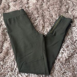 Olive Green Leggings with Ankle Zipper